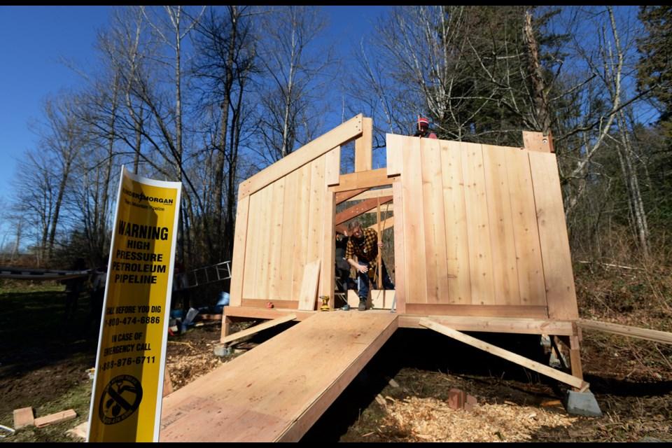 Construction of a permanent watch house near the Kinder Morgan tank farm. Photo: Jennifer Gauthier