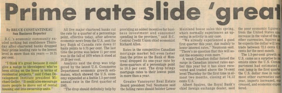 Prime rate slide great Sun Apr 19 1985