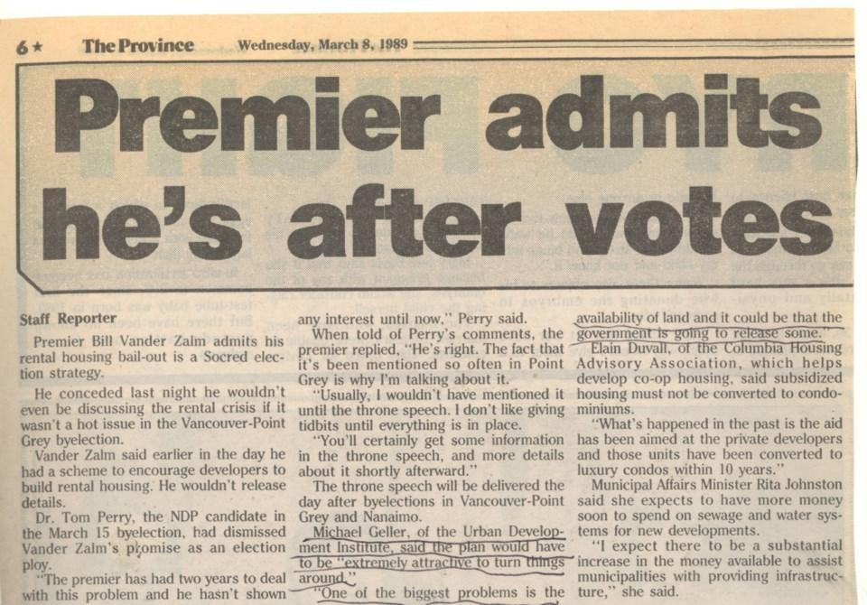 Premier after votes Province March 8 1989