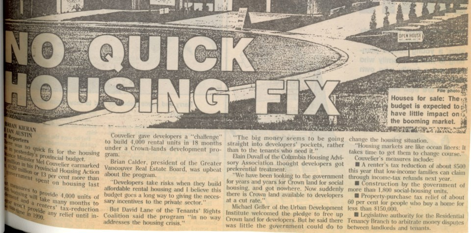 BC Budget no housing fix Province March 31 1989
