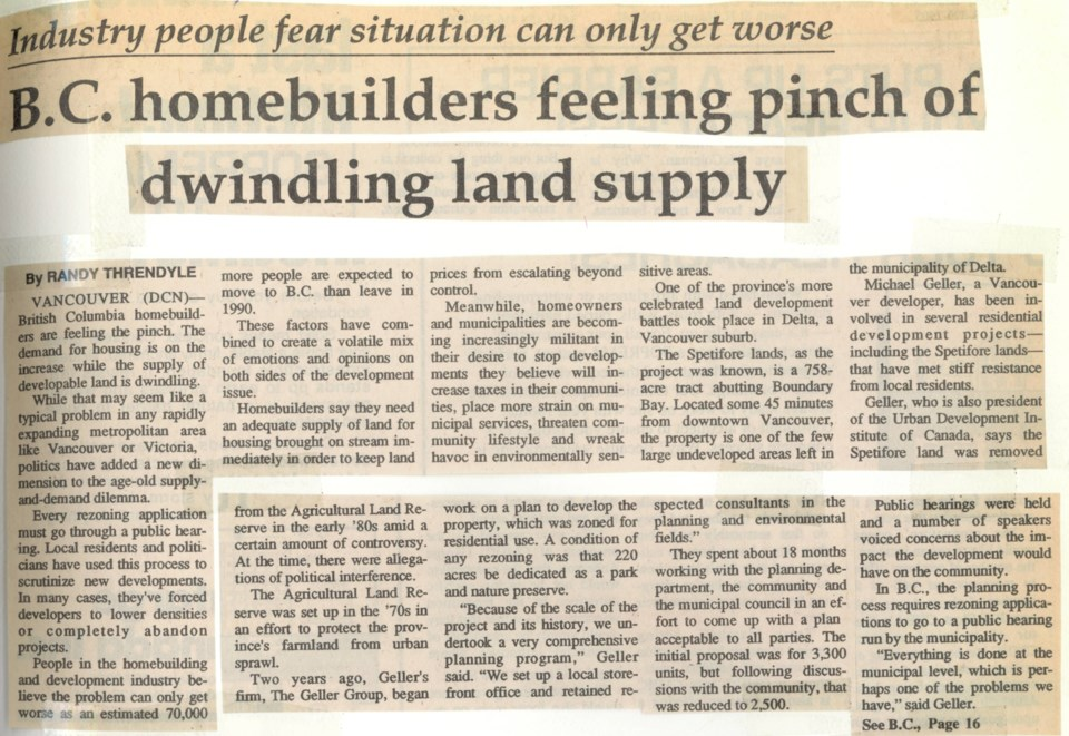 Land pinch Toronto Commercial News February 1990