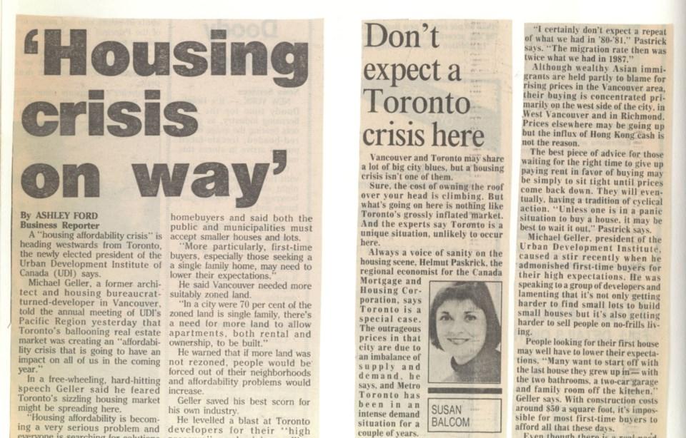 Housing crisis Province May 20 1988