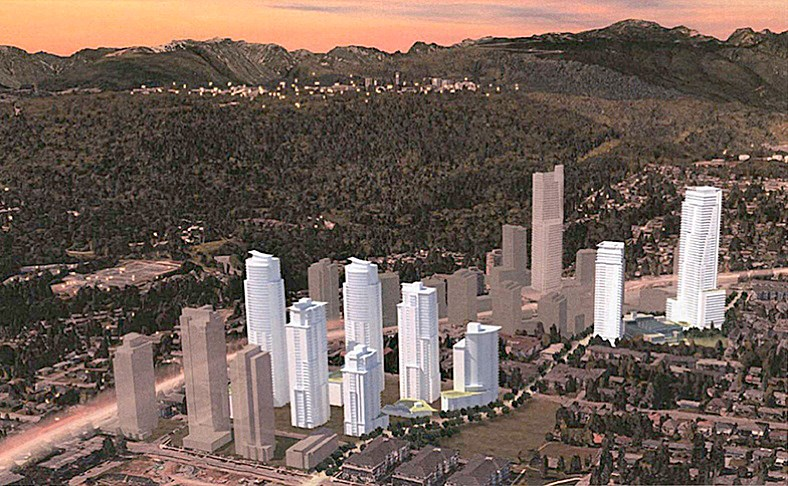 This illustration from Concert Properties shows the buildings planned (in white) for the Burquitlam area of Coquitlam under its proposal that's before the city for approval.
