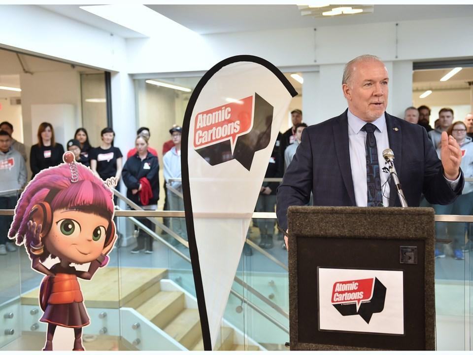 Premier John Horgan spoke at the opening of Atomic Cartoons' new Mount Pleasant offices. Photo Dan T
