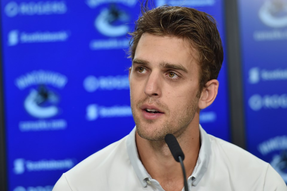 Brandon Sutter at the microphone for the Vancouver Canucks