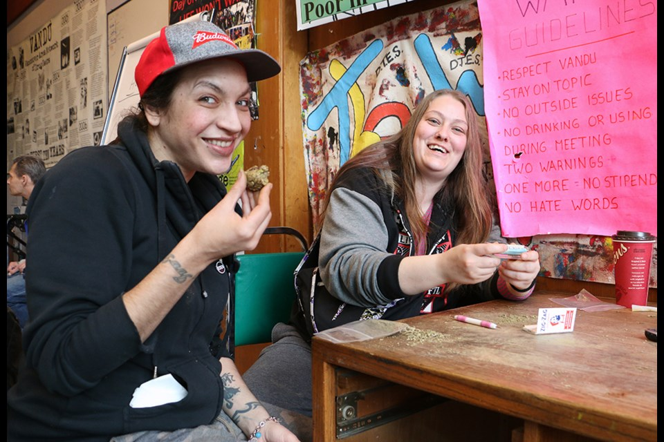 Jennifer Nelson (left) and Amanda Rainey volunteer at VANDU every weekend rolling joints to be given to opioid users as part of the Cannabis Substitution Project. Photo Saša Lakić