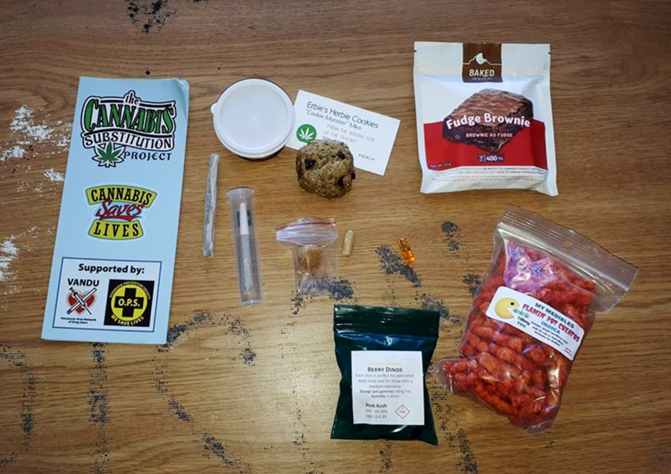 A typical care package Neil Magnuson gives to opioid users as part of his Cannabis Substitution Proj