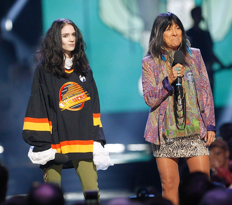 Grimes and Buffy Sainte-Marie were presenters at Sunday night's Juno Awards.