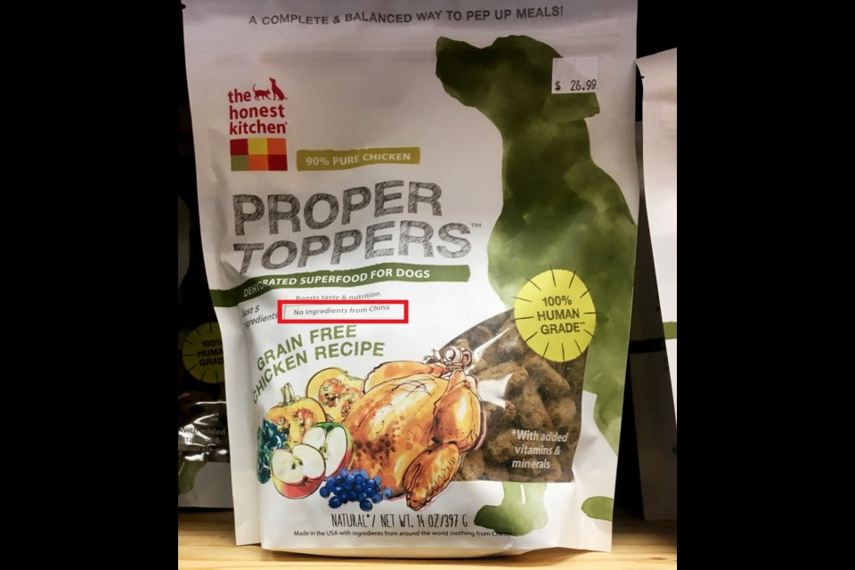 """Pet food labelled """"no ingredients from China"""" at Tisol's Richmond location."""