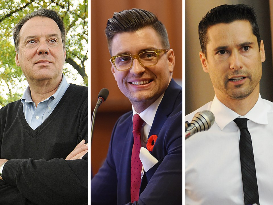John Coupar, Hector Bremner and Glen Chernen are vying to be the NPA's mayoral candidate. Photos Dan