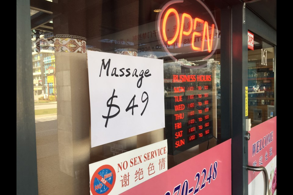 """A massage parlour on Minoru Boulevard felt it necessary to post a """"No Sex Service"""" sign on its front door after being inundated by prospective Johns."""