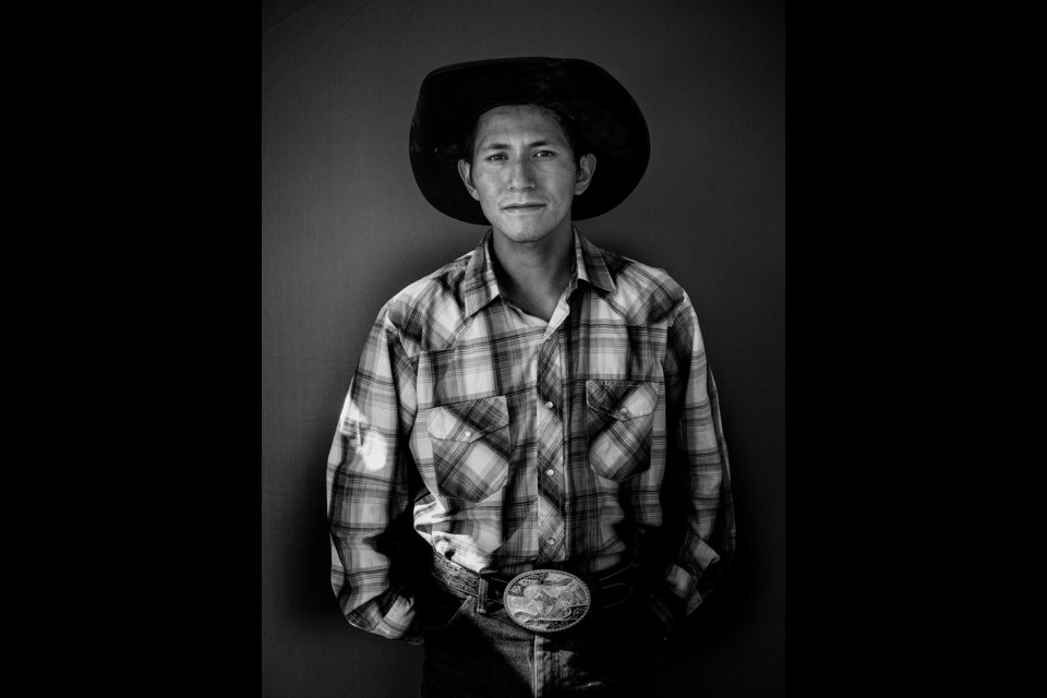 Mountain Rider Tyson Coutlee, Merritt, 2014, part of Chilcotin Rodeo, an exhibition featured in the 2018 Capture Photography Festival. The photos are part of a collection shot by New West photographer Gabor Gasztonyi.