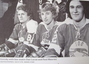 This photo of Dan Lucas, Wayne Gretzky and Paul Mancini was taken when they played for the Sault Greyhounds.