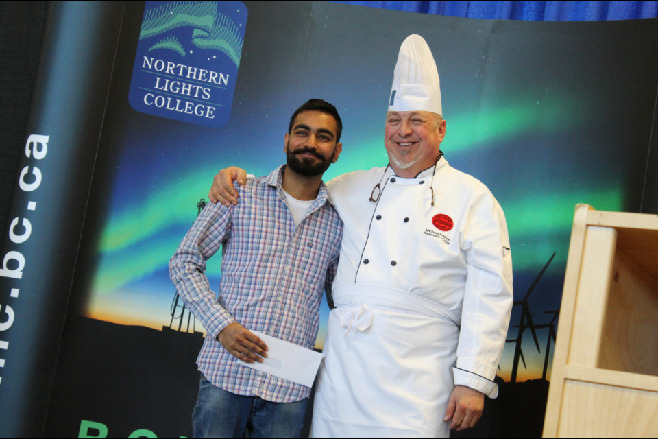 Instructor Michael French also gave words of encouragement, along with the Cook Training Bursary to Mandeep Singh.
