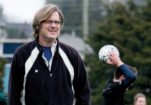 Harry Green follows the action while coaching a youth team for the North Vancouver Football Club. Filmmaker Tim Hardy, whose son played for Harry, started to document the coach and his team four years ago after Green was first diagnosed with cancer. photo Tim Hardy