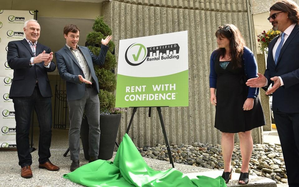 Left to right: LandlordBC CEO David Hutniak, Vancouver-West End MLA Spencer Chandra Herbert, Karen S