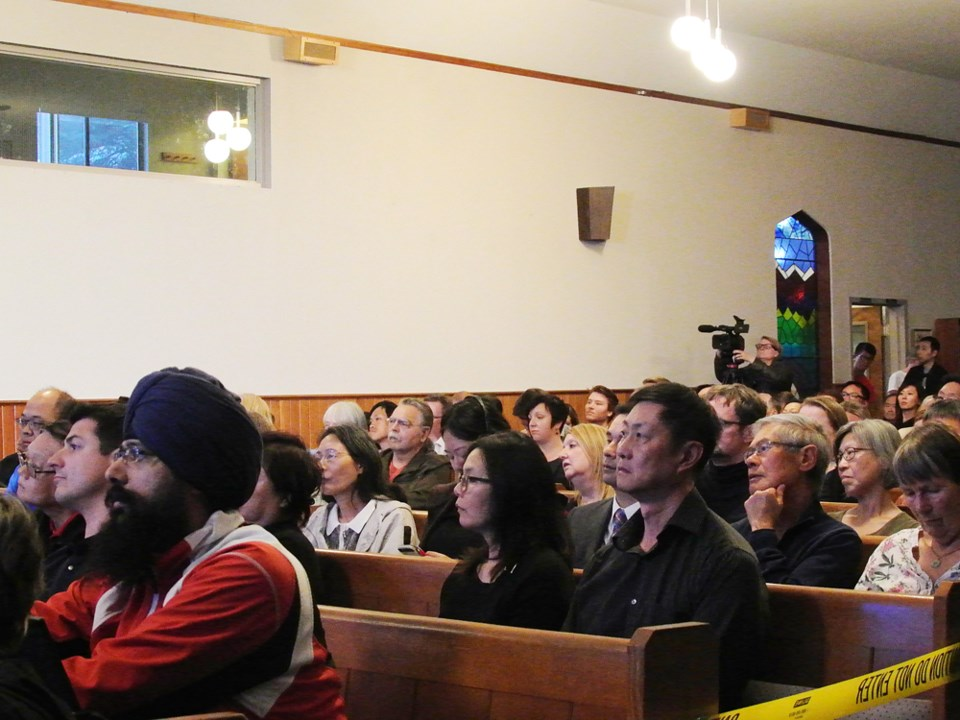 It was a packed house Wednesday night at Brighouse United Church where panelists and audience member