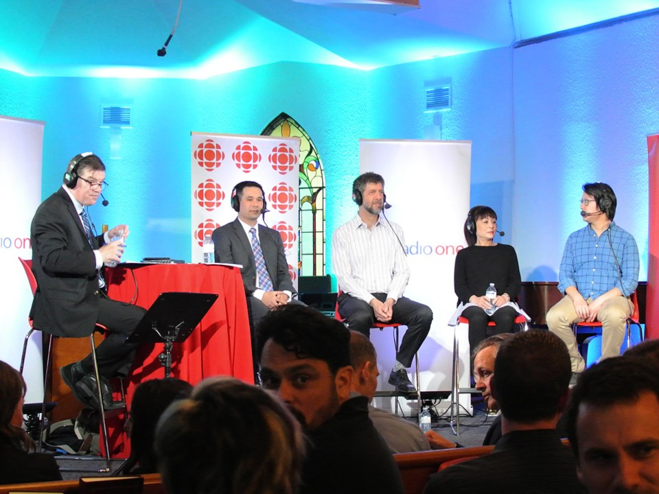 CBC's Stephen Quinn moderated a public forum on housing in Vancouver with panelists Mark Ting, Tsur