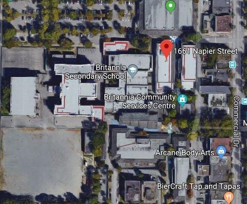 Satellite view of Britannia Community Centre complex.