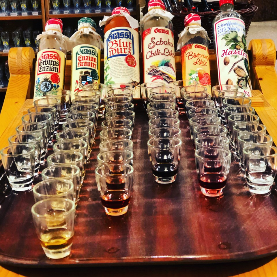 Grassl distillery offers samples of its many schnapps flavours. Photo Michael Kissinger