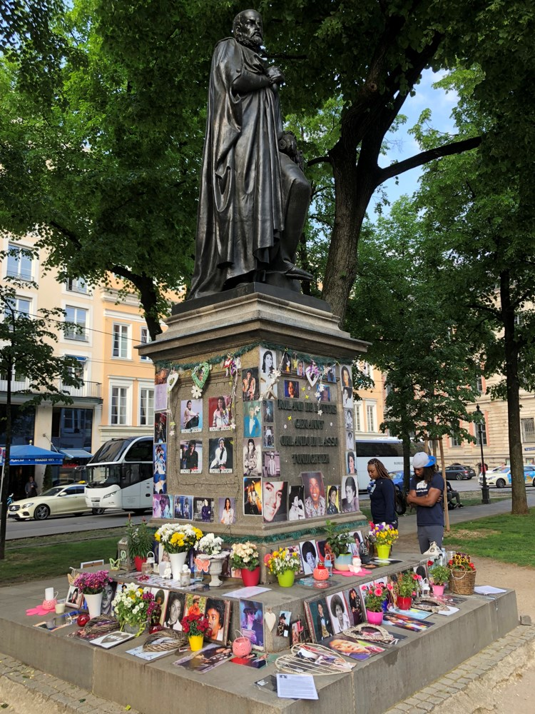 Since 2009, this statue of Orlande de Lassus has been home to a Michael Jackson memorial because it