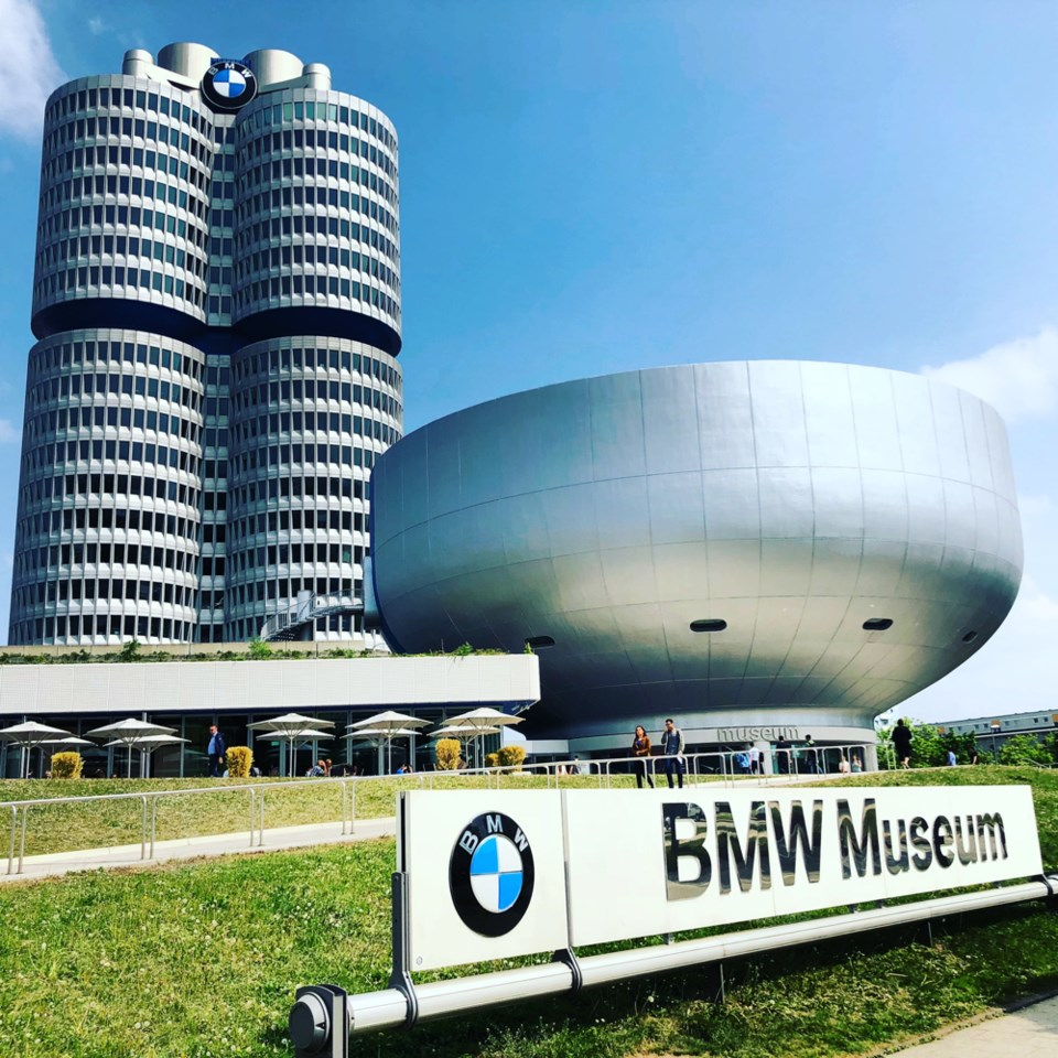 Munich's BMW Museum houses history and automobile eye-candy in space-age 1973 architecture. Photo Mi