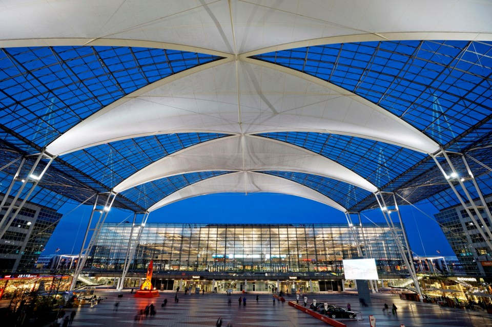 Stylish Munich Airport was ranked best airport in Europe and number four in the world by a survey of
