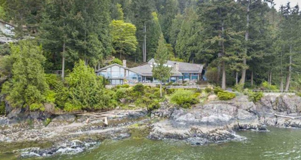 Bowen Island estate exterior from water