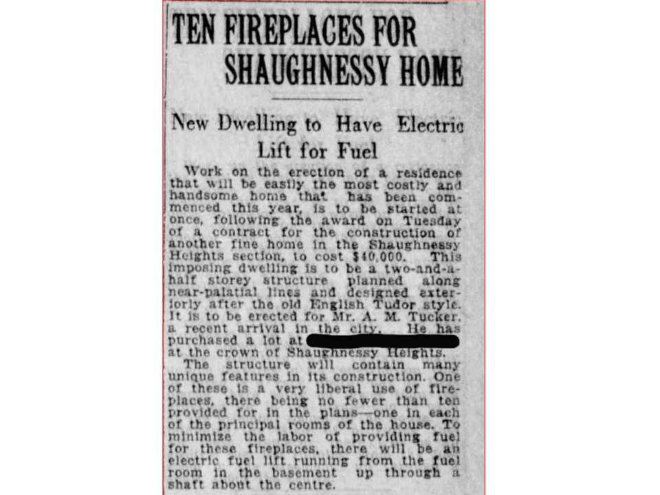 1921 newspaper article on Tuck house in Vancouver Daily World, Aug.10, 1921.
