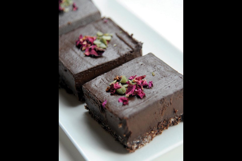 Chocolate Avocado Tart (nut free): desserts at the Green Moustache Café are all raw and vegan. Created in-house using superfood ingredients and sweetened only with dates or maple syrup.