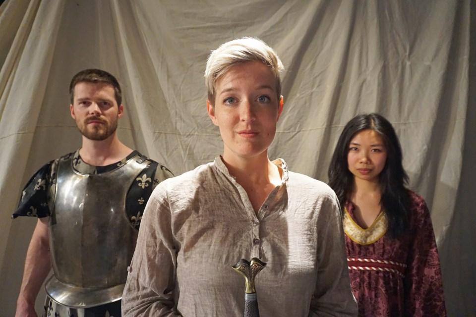 Emily Wheeler, centre, stars in Saint Joan, with Aaron Wheeler and Trisha Li.