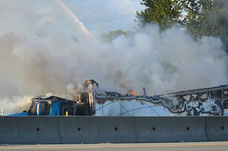 A transport truck carrying chicken and cheese caught fire on Highway 1 early Thursday evening. It took Coquitlam firefighters approximately to completely douse the blaze.
