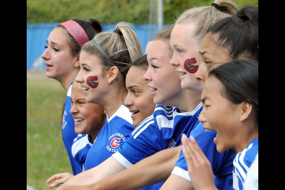 MARIO BARTEL/THE TRI-CITY NEWSPlayers on Centennial's bench react as time winds down in their 1-0 overtime win over Fleetwood Park secondary school at the BC High School AAA senior girls soccer championship, Friday at UBC's Thunderbird Stadium.