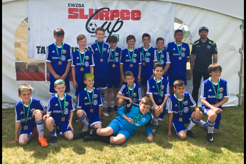 The U13 boys Northern Strikers, seen here, have three players chosen to play in the Alberta Summer Games.