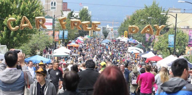 Car Free Day events across the city draw sizable crowds. Ironically, that also includes people in ca