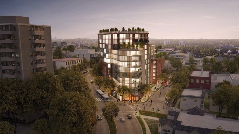 preliminary rendering of what was proposed for the Kettle-Boffo site at Venables and Commercial Drive.