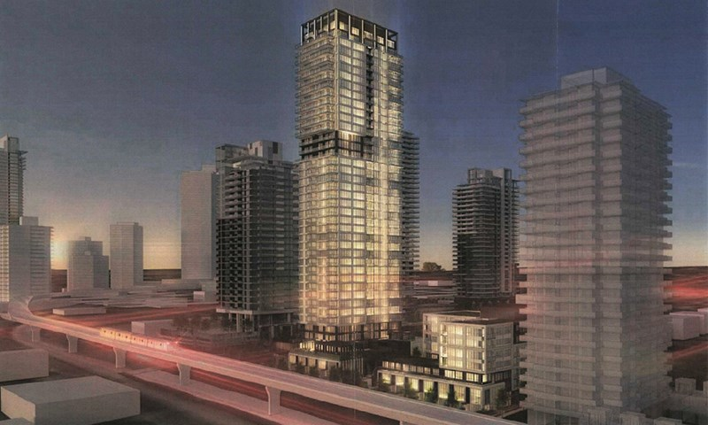 Artist rendering of the view along North Road of Amacon's proposed 41-storey residential tower and six-storey rental building in Burquitlam,