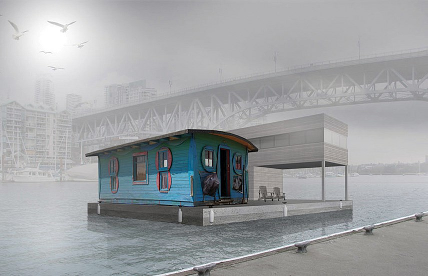 The plan is to initially moor the Blue Cabin in False Creek and then move it to Indian Arm.