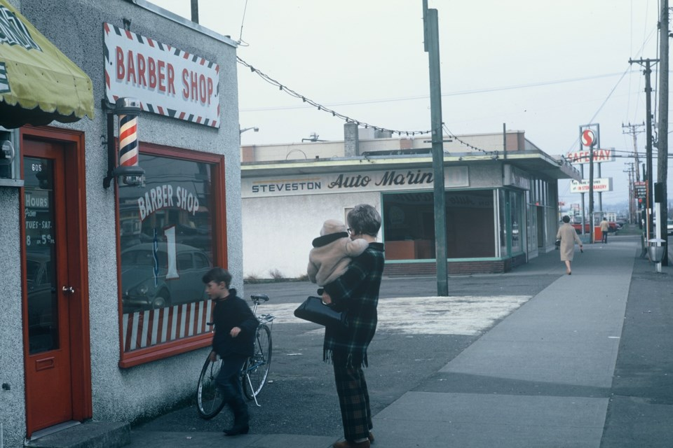Louise's Barber Shop, west side of No. 3 Road, south of Westminster Highway, March 1971. Photo: K.E. Eiche