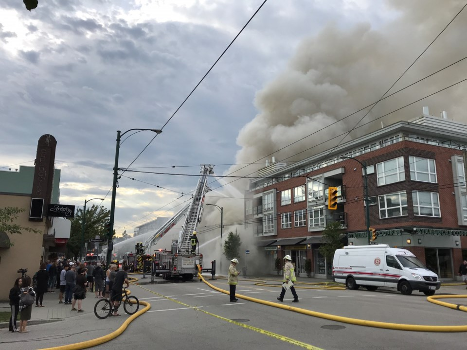 Adrian Cunningham took this photo as fire crews battled the fire that broke out this morning on West