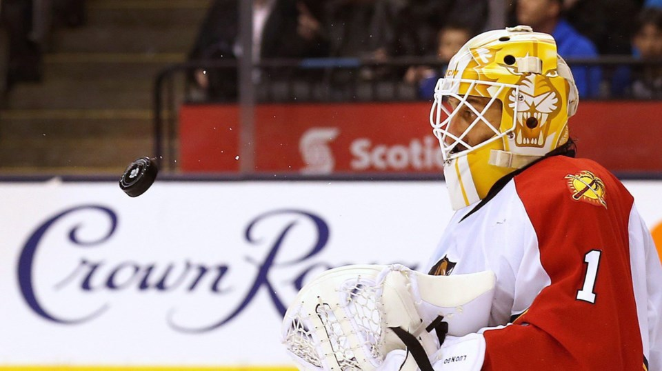 Roberto Luongo staring down a puck with the Florida Panthers