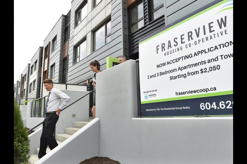 Vancouver Mayor Gregor Robertson at the opening of the Fraserview Housing Co-operative. Photo Dan Toulgoet