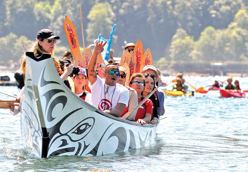 The Protect the Inlet flotilla was prominent last summer protesting the Trans Mountain project. But there are many First Nations leaders who support the project. Paul McGrath/North Shore News