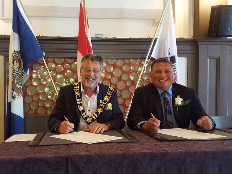 Powell River mayor Dave Formosa and Tla'amin Nation hegus Clint Williams