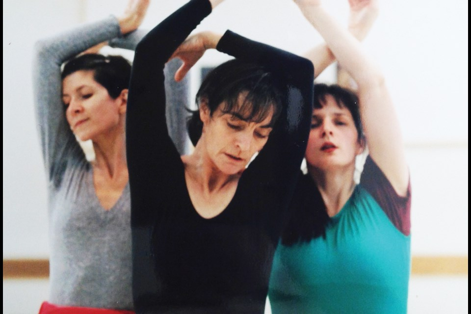 Shirley Jackson, Nicola Blakey and Dominique Hutchinson rehearse an original piece for the Celebration of Dance performances in the 1990s.