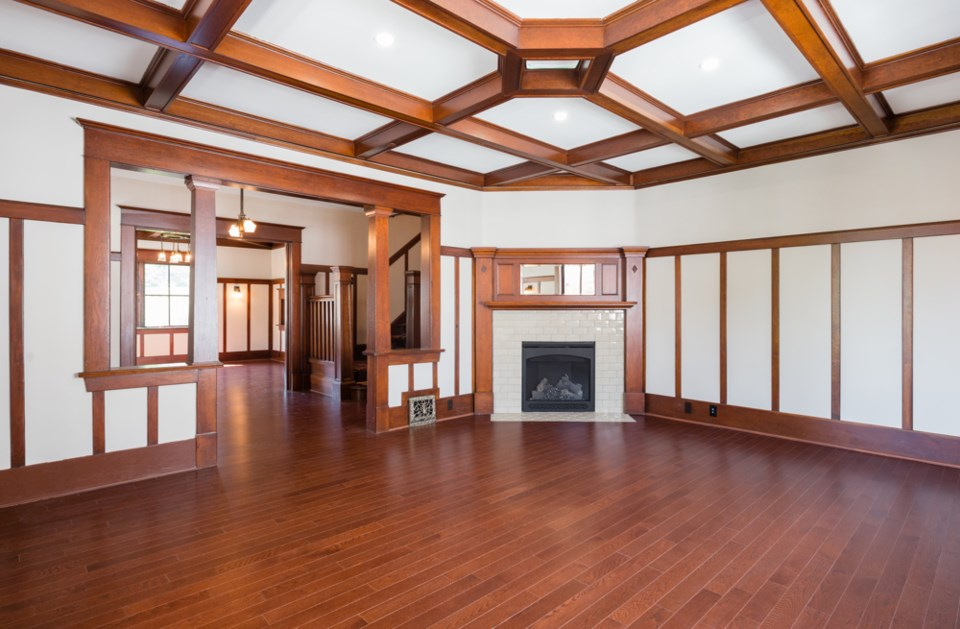 With its beamed ceiling, wainscoting and decorative glass, Vinson House seems more like a house out