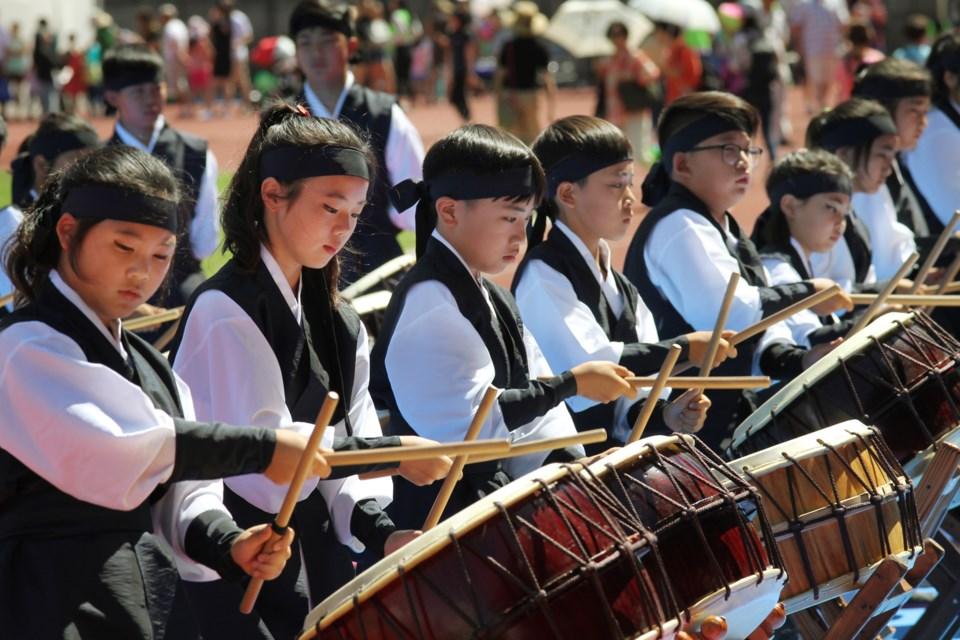 Hanta drummers perform at the festival.