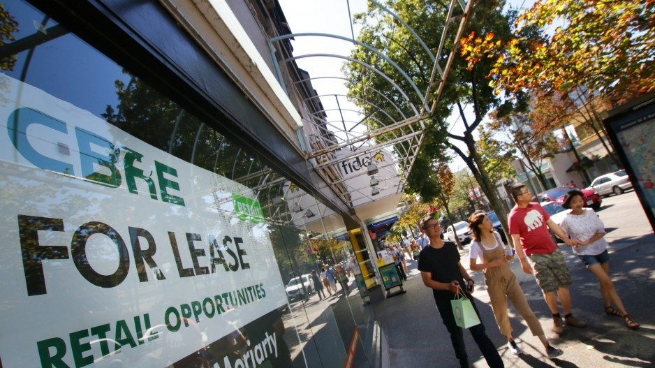 Empty storefronts in the 1100 block of Robson Street, where average rents are the second-highest in