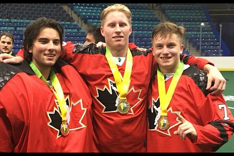 It was a golden weekend in Saskatoon for Delta Islanders trio of (left to right) Brody Harris, Haiden Dickson and Brendan Szabo playing for Canada at the 2018 IIJL World Junior Lacrosse Championship.