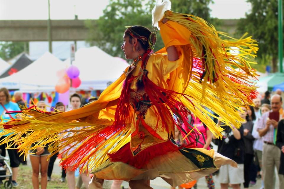 Fancy dancer Shyama-Priya in her regalia entertained at Pride Festival in Burnaby.